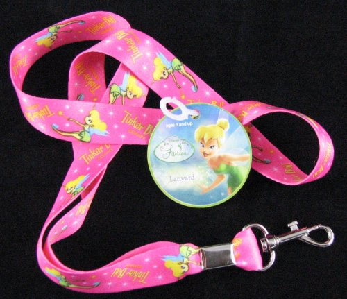 Disney Tinker Bell Fairy Pink Lanyard Key Chain New