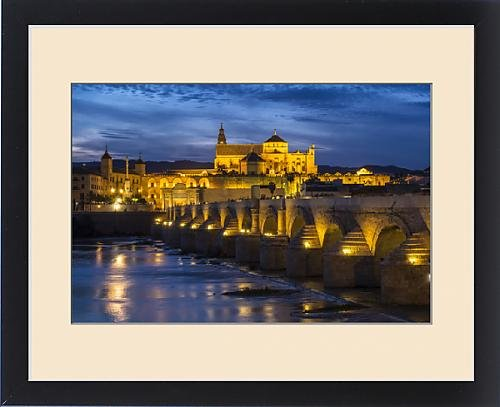 Framed Print of Spain, Andalusia. Cordoba. The Roman bridge across the Guadalquivir river at by Fine Art Storehouse