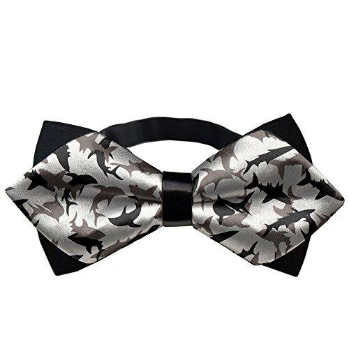 (YEAHSPACE Mens Silk Bowtie Gift Shark Camo Bow Ties For Teen Boys)