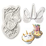 "Mini Unicorn Mold With Flowers Silicone Cupake Topper Molds Unicorn Horn Ears and Eyelash Set Molds for Small Cake Decorating Fondant Set of 2 (4.72""X2.76""X0.39""+ 2.56""X2.36""X0.47"")"