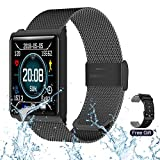 RZATU Smart Watch for Android Phones Fitness Tracker with Heart Rate Monitor Blood Pressure Sleep Waterproof Smartwatch Steel Activity Tracker with Color Screen Compatible for iOS Black