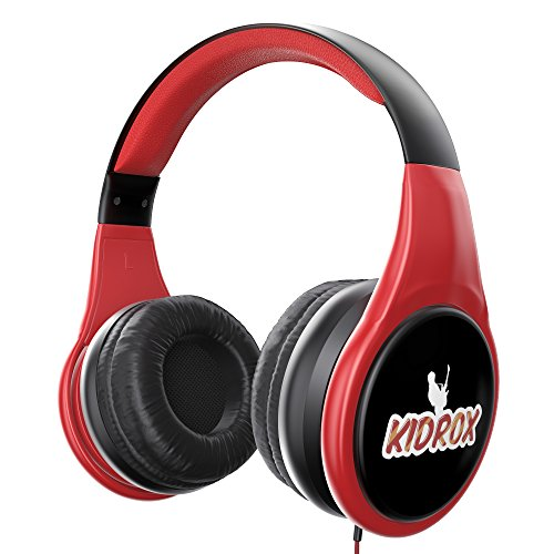 KidRox RS4 Kids Headphones 85dB Volume Limited Adjustable and Safe Hearing Protection Tangle Free Wired On-Ear Earphones for Children Toddler Boys Girls (Black/Red)