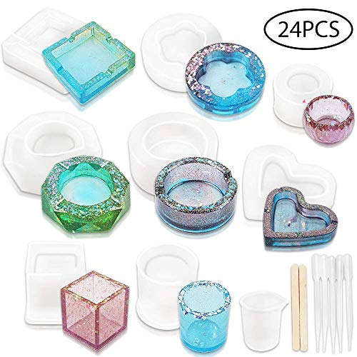 YGEOMER Ashtray Mold, 8pcs Resin Silicone Molds for DIY Cup Coaster Ashtray Pen Pendant Soap Candle Soap Holder Craft, Home Decoration