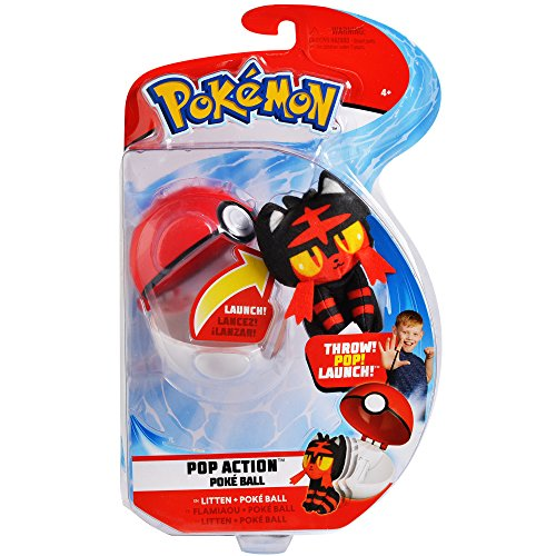 Pokemon Pop Action Poké Ball Launcher, Comes with Launching Litten Mini-Plush & Poke Ball - Flies up to 10ft into Battle ()