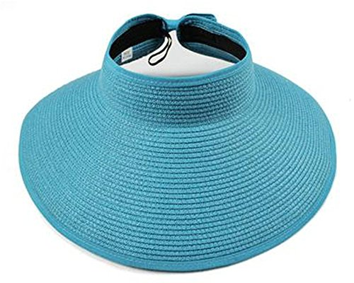 Mainstream Summer Visors Cap Foldable Wide Large Brim Sun Hat Beach Hats for Women Straw Hat Wholesale,Large,SkyBlue