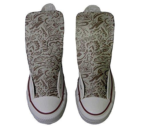 Paisley et Italien Unisex Imprimés Converse chaussures Star artisanal Sneaker Damask produit coutume All Hi Personnalisé qngCTU