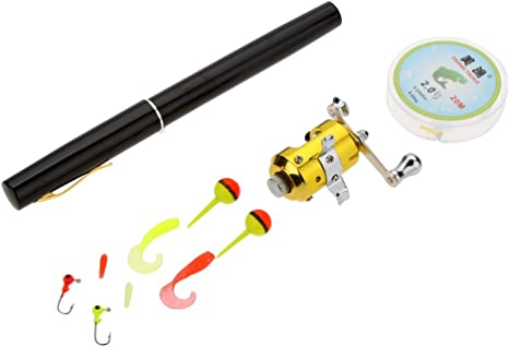 Docooler Mini Portable Pocket Fishing Rod Aluminium Alloy Pen Shape 1M Fishing Reel Soft Bait Jig Hook Float Fishing Tackle