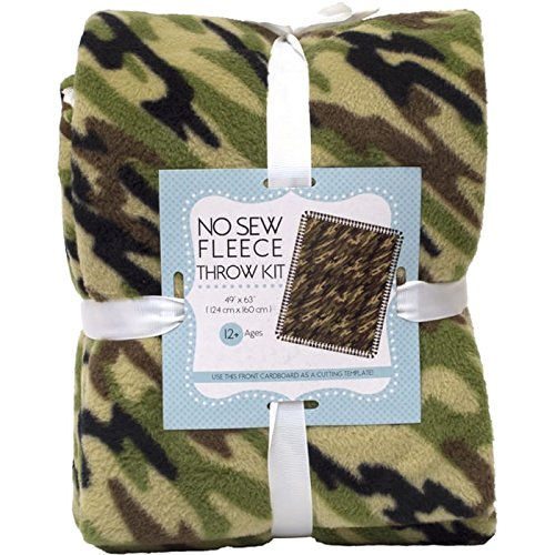 Camouflage No-Sew Throw Anti-Pill Fleece Fabric Kit by David Textiles