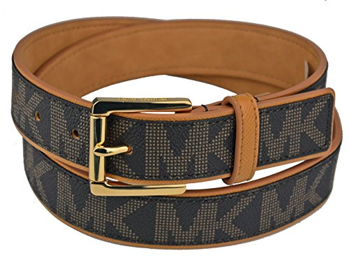 Michael Kors Mk Signature Monogram Logo Gold Buckle Brown Belt Medium