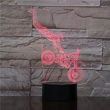 3D Lámpara,Led Motociclista Luz De Noche, Lámpara De Ilusión 16 Colores Lámpara De Decoración Del Dormitorio - Regalo Perfectos Para Niño [Clase De Eficiencia Energética A]