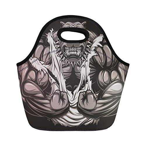 Semtomn Neoprene Lunch Tote Bag Muscle Angry Dog Bodybuilder Scary Teeth Gym Strong Fitness Reusable Cooler Bags Insulated Thermal Picnic Handbag for Travel,School,Outdoors, Work