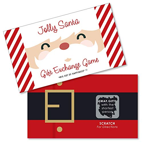 Big Dot of Happiness Jolly Santa Claus - Christmas Party White Elephant Gift Exchange Game Scratch Off Cards - 22 Count (Christmas Game Dice)