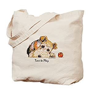 CafePress Wire Fox Terrier Natural Canvas Tote Bag, Reusable Shopping Bag 33