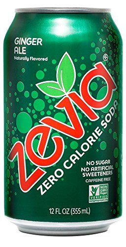 Zevia Zero Calorie Soda, Ginger Ale, Naturally Sweetened Soda, (24) 12 Ounce Cans; Ginger-flavored Carbonated Soda; Refreshing, Full of Flavor and Delicious Natural Sweetness with No Sugar from Zevia