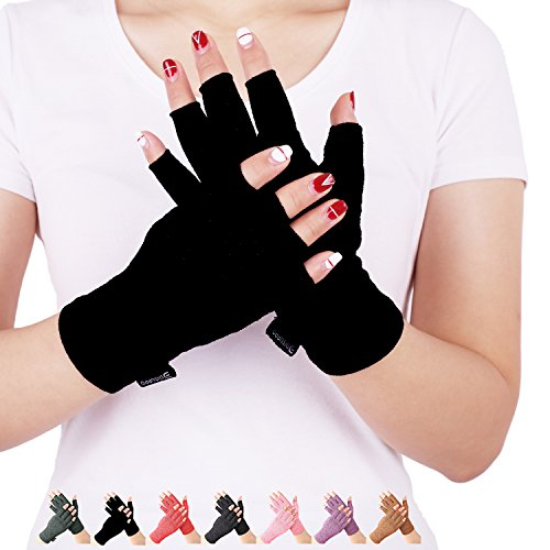 Arthritis Compression Gloves Relieve Pain from Rheumatoid, RSI,Carpal Tunnel, Hand Gloves Fingerless for Computer Typing and Dailywork, Support for Hands and Joints (Pure Black, Medium)