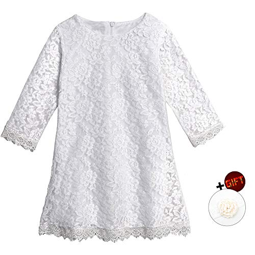 Big Girl Birthday Dress Size 7-16 Sleeveless Floor Length Wedding Party Dress Size 10-12 Lace Flower Formal Dress for Juniors Easter Christmas Pageant Dress for Girls 10-12 Years (White 180) -