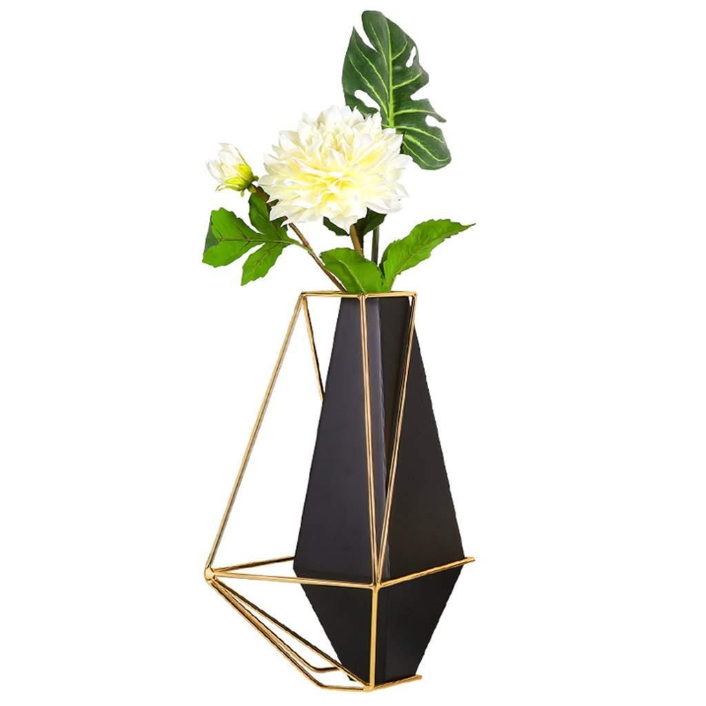 フラワーベース花器 花瓶モダン幾何学模様ブラックメタルオーナメントポーチダイニングテーブルリビングルームテレビキャビネット卓上装飾フラワーアレンジメントフラワーコンテナ (Color : Black, Size : 27*8*39cm) B07S9W21CC Black 27*8*39cm
