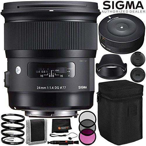 Sigma 24mm f/1.4 DG HSM Art Lens for Nikon F – 6PC Accessory Bundle