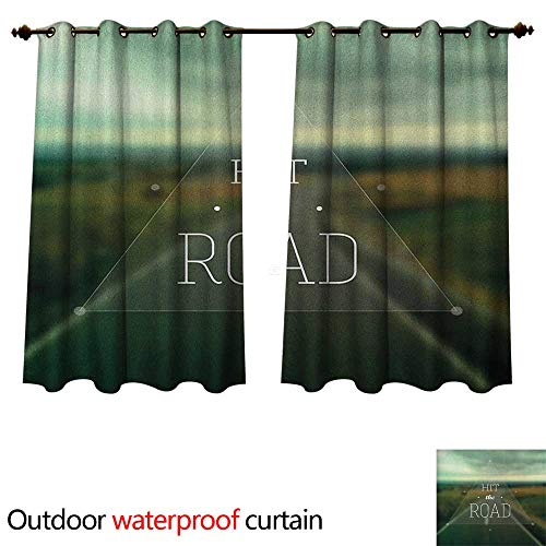 Highway Triangle (Anshesix Adventure Outdoor Curtains for Patio Sheer Hit The Road Quote Inside a Transparent Triangle with Blurred Highway Background W120 x L72(305cm x 183cm))