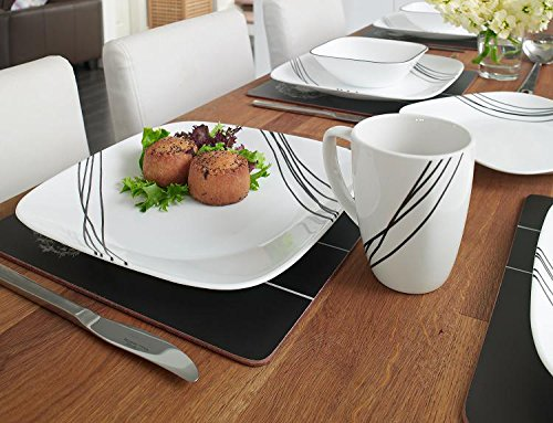 USA Corelle Square 16 Piece Dinnerware Set Simple Sketch Service For 4 11