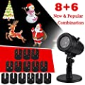 CM-Light Christmas Decorations LED Gobo Projector 14 Replacement Slides Waterproof Lights for Indoor Outdoor Halloween Wedding Party Holiday Wall Garden Landscape Festival Fairy Night Lamp
