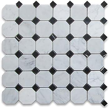 Carrara White Italian Carrera Marble Octagon Mosaic Tile