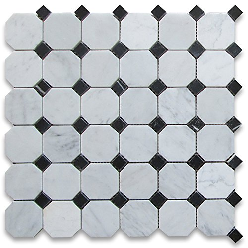 Carrara White Italian Carrera Marble Octagon Mosaic Tile Black Dots 2 inch Polished