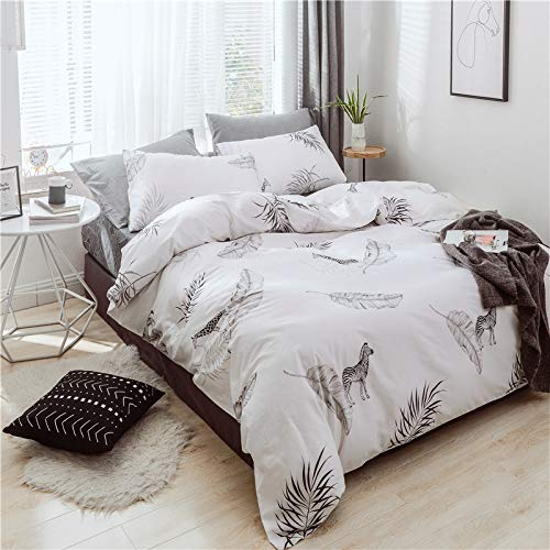 ADASMILE A & S Animal Duvet Cover Set White Bedding with Black Zebra Giraffe Printed 100% Cotton Bedding Sets One Duvet Cover One Pillowcases (Twin,Animal World) (Twin Zebra Duvet Cover)