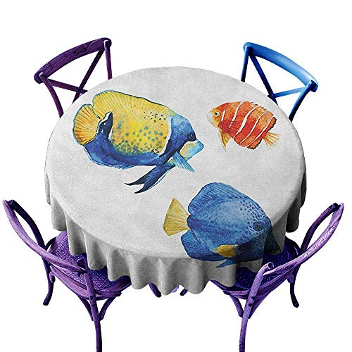 ONECUTE Round Tablecloth,Fish Tropical Aquarium Life Discus Fish and Goldfish in Different Patterns,High-end Durable Creative Home,43 INCH Azure Blue Yellow Scarlet