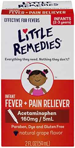 Little Remedies Infant Fever + Pain Reliever | Natural Grape Flavor | 2 oz | For Ages 2-3 years and up
