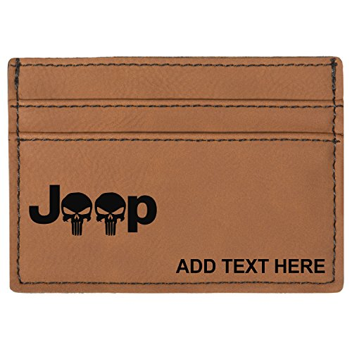 Personalized Engraved Jeep Punisher Skull Leatherette Moneyclip Wallet, Rawhide