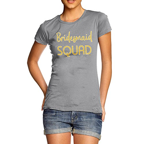 Womens T-shirt Bridesmaid Light (TWISTED ENVY Womens Funny Tshirts Bridesmaid Squad Small Light Grey)