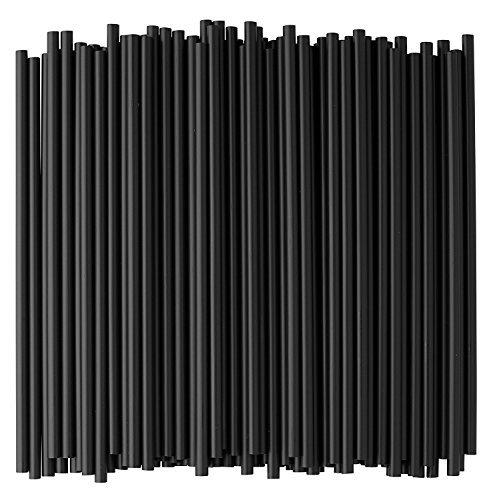 Crystalware, Black Plastic Straws, 7 3/4 Inches, Jumbo Pack 500 Straws - 2 Packs