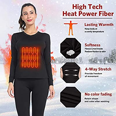 MANCYFIT Womens Thermal Underwear Long Johns Set with Fleece Lined Ultra Soft V Neck at Women's Clothing store