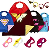 Superhero Costumes Girls Birthday Toys - 4 Super Hero Capes Masks Kids Toddler