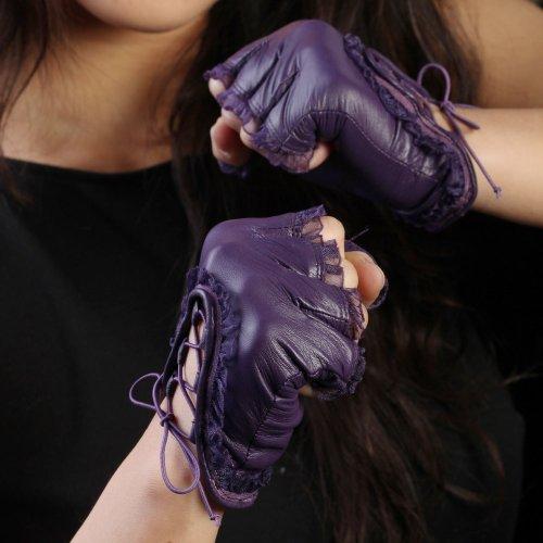 【WARMEN】レディース レザー 本革 羊革(ナッパ革) 手袋 グローブ 手ぶくろ ライナーなし 指切り レース ドライビング バイク ヒップホップ L005N