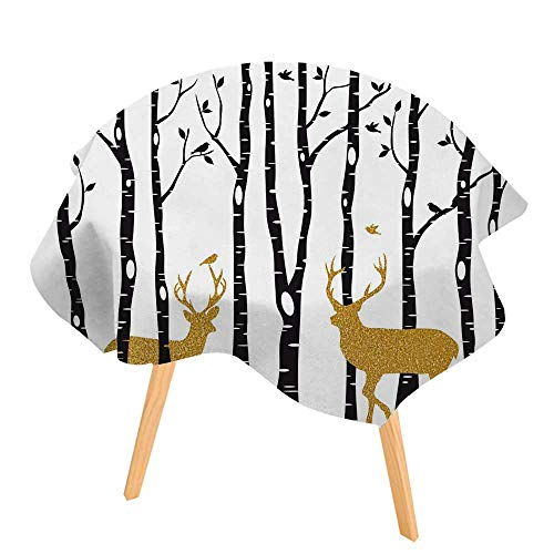 PINAFORE Easy-Care Cloth Tablecloth Birch Trees with Gold Christmas Reindeer Great for Buffet Table, Parties, Holiday Dinner 47.5