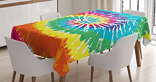 Ambesonne Rainbow Tablecloth, Digital Spiral Vortex Vibrant Rainbow Colored Sixties Ikat Psychedelic Pattern Print, Dining Room Kitchen Rectangular Table Cover, 60 W X 84 L Inches, Multi -