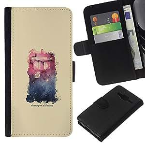 YiPhone /// Tirón de la caja Cartera de cuero con ranuras para tarjetas - Espacio Galaxy Casa - Samsung Galaxy Core Prime