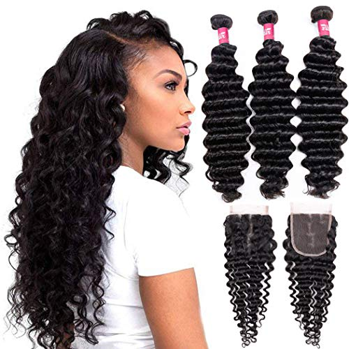 Brazilian Human Hair Deep Wave 3 Bundles With Closure (22 24 26 + 20 Free Part) 9A 100% Unprocessed Brazilian Virgin Human Hair Deep Curly Hair Weave Bundles With 4×4 Lace Closure Natural Color