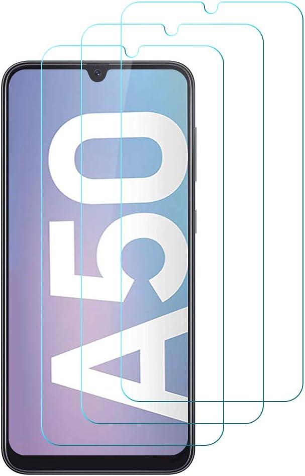 Hanbee Protector de Pantalla para Samsung A50 Cristal Templado para Samsung Galaxy A50 Protector Pantalla, 3-Pack Alta Definicion, 3D Cobertura Completa, Resistente a Arañazos