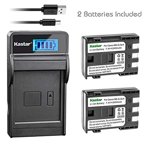 Kastar Battery (X2) & LCD Slim USB Charger for Canon NB-2L, NB-2LH, NB2L, NB2LH and G9, Rebel XTi, G7, Rebel XT, HV-20, ZR-850, S30, HV-40, S330, S50, HV-10, ZR100, ZR-830, ZR-700 Digital Cameras