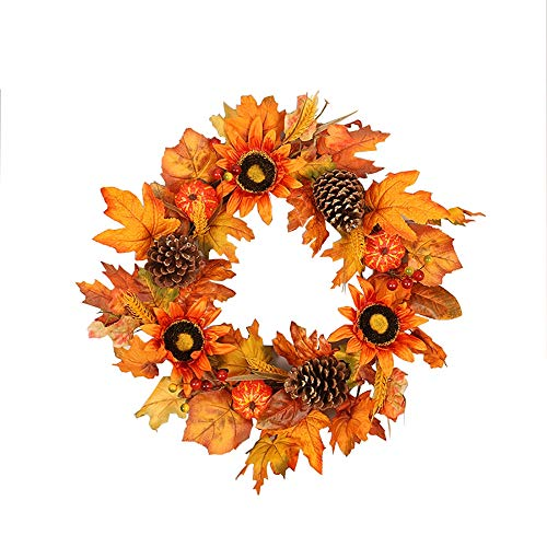 NQXXN Artificial Sunflower Wreath, Pumpkin Maple Leaf Thanksgiving Halloween Wreath, Autumn Wreath for Front Door/Wall/Festival/Home Decor (18 Inch)