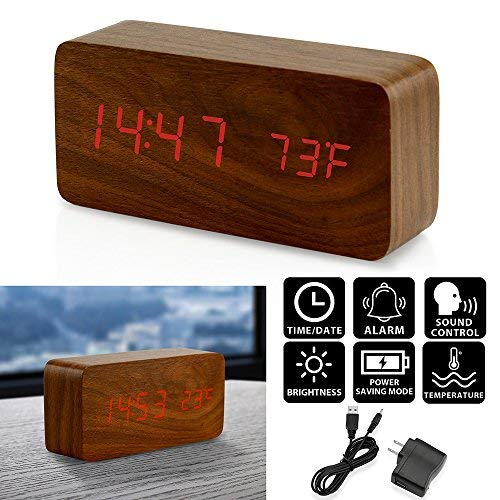 (Oct17 Wooden Digital Alarm Clock, Wood Fashion Multi-function LED Alarm Clock with USB Power Supply, Voice Control, Timer, Thermometer - Brown)