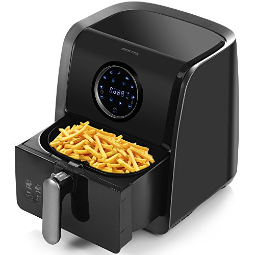 Air Fryer, BESTEK Electric Oil Less Air Fryers Digital Programmable with 7 Bulid-in Cook Setting and Cookbook, Oil Free (3.2L, Black)