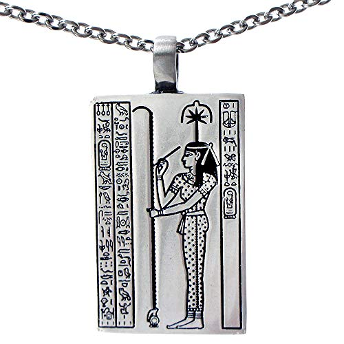 OhDeal4U Seshat Goddess of Writing and Wisdom Silver Pewter Pendant Charm Amulet w Necklace (Stainless Steel Chain) (Hades Symbol Necklace)