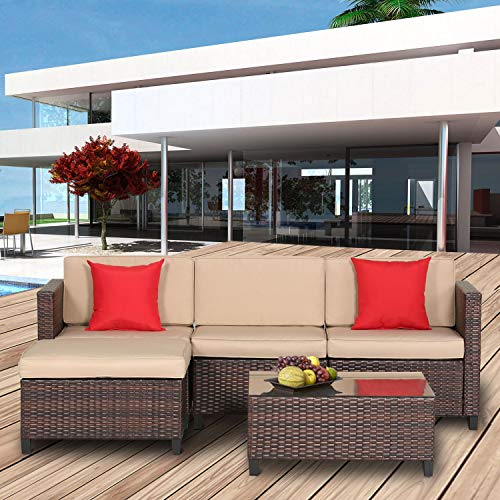 Oakmont 5 Piece Sectional Sofa Set All Weather Brown Striped Wicker Patio Furniture with Beige Zippered Cushions and Glass Top Coffee Table (Patio Sofa Sleeper)