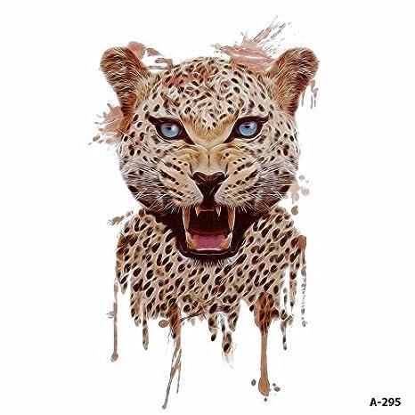 WYUEN 5 hojas acuarela leopardo tatuaje impermeable temporales ...