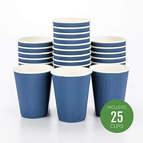 Disposable Paper Hot Cups - 25ct - Hot Beverage Cups, Paper Tea Cup - 12 oz - Midnight Blue - Ripple Wall, No Need For Sleeves - Insulated - Wholesale - Takeout Coffee Cup - Restaurantware