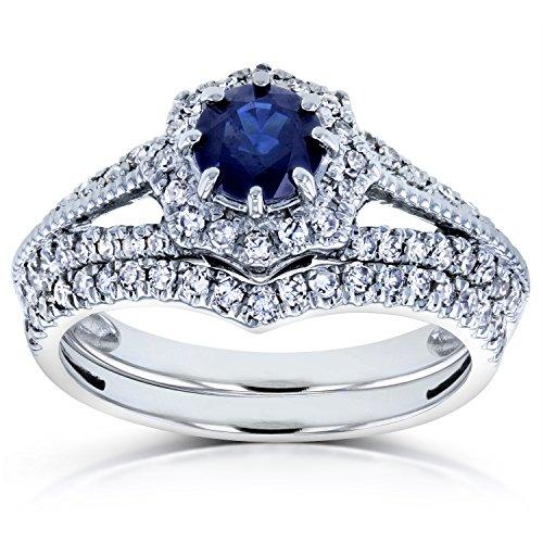 Sapphire and 1/2ct TDW Diamond Star Halo Bridal Set 14k White Gold (2 Piece Set), Size 5, White ()